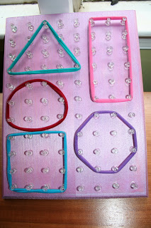 geoboard tutorial, math center ideas,
