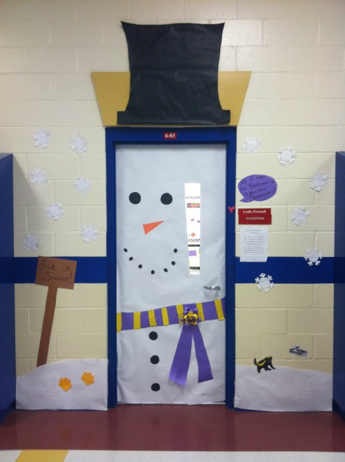 Winter bulletin boards for 3d snowman door decoration