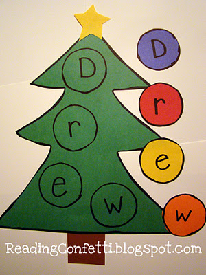 christmas tree literacy activity via reading confetti