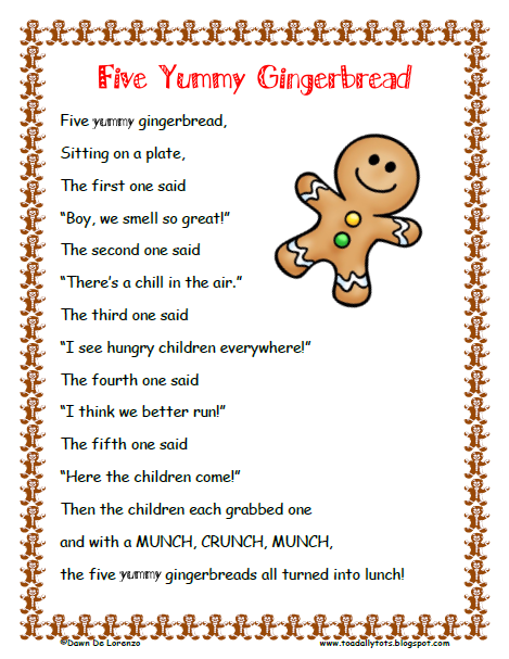 Free Printable Gingerbread Song via A Teacher's Touch