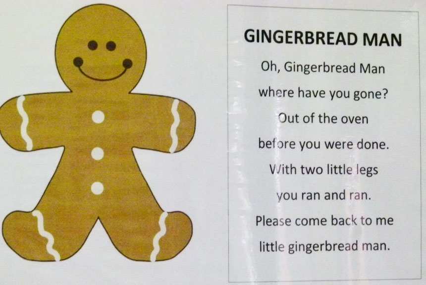 Free Gingerbread Man Poem via Lessons from a Teacher