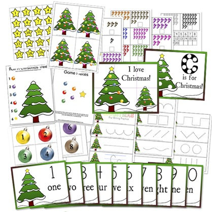 preschool math christmas packet