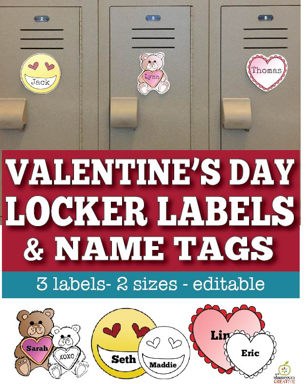 Valentine's Day name tags locker images pointers