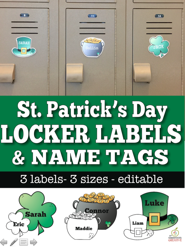 st patrick's day locker labels
