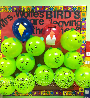 angry birds bulletin boards, end of year bulletin boards