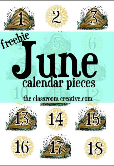 June Calendar Pieces : Free classroom printables