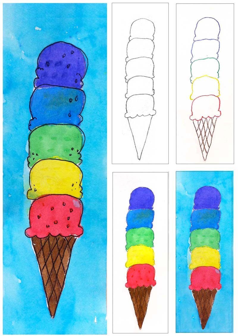 Ice cream craft and activity ideas for Watercolor painting and projects