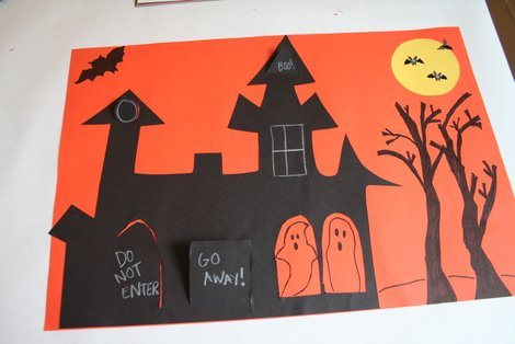 Spooky houses art project