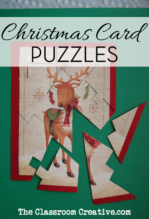 Upcycled Christmas Cards Puzzle Craft