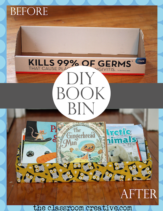upcycled diy book bin project