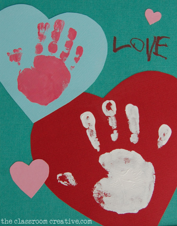 valentine keepsake hand print art for grandparents gift