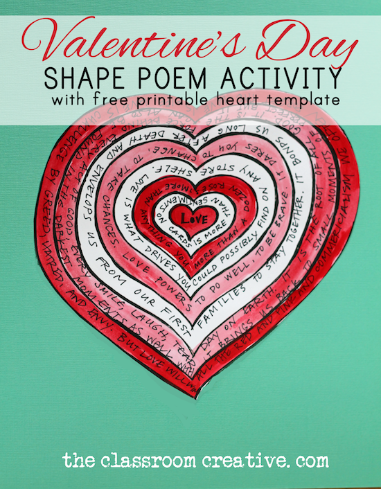 valentines day poem activity shape poems