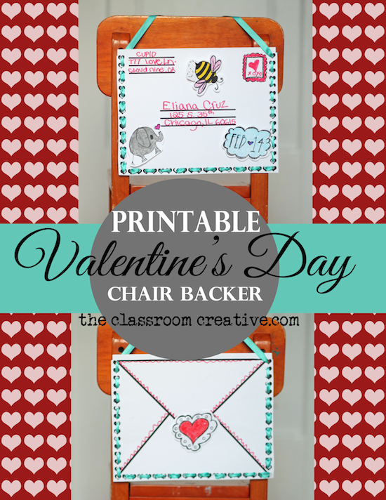 Printable Valentines Day Chair Back Craft and Friendly Letter