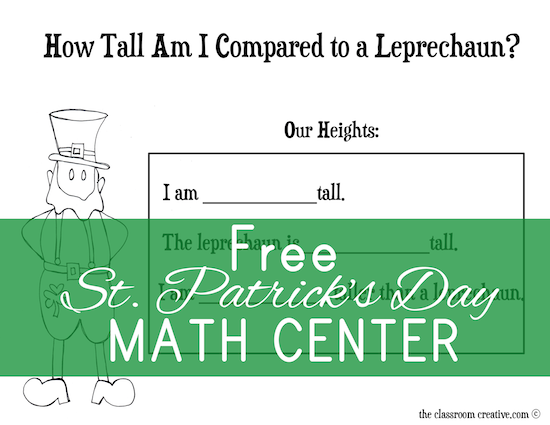 free leprechaun measurement math center activity