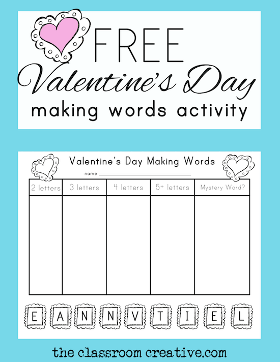 Free Valentine\'s Day Making Words Activity