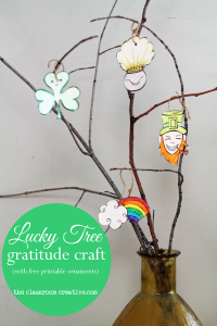 lucky tree gratitude craft for St. Patrick's Day theclassroomcreative.com