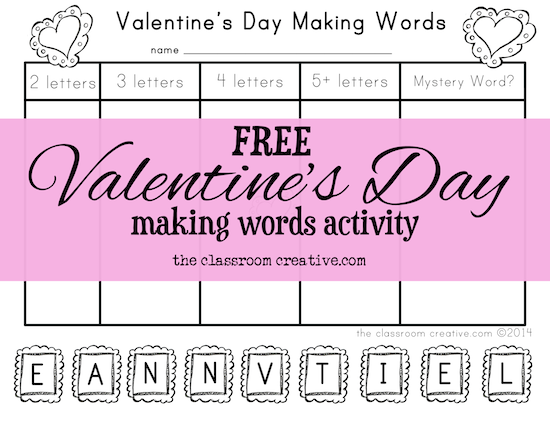 free valentine's day making words activity, Ideas
