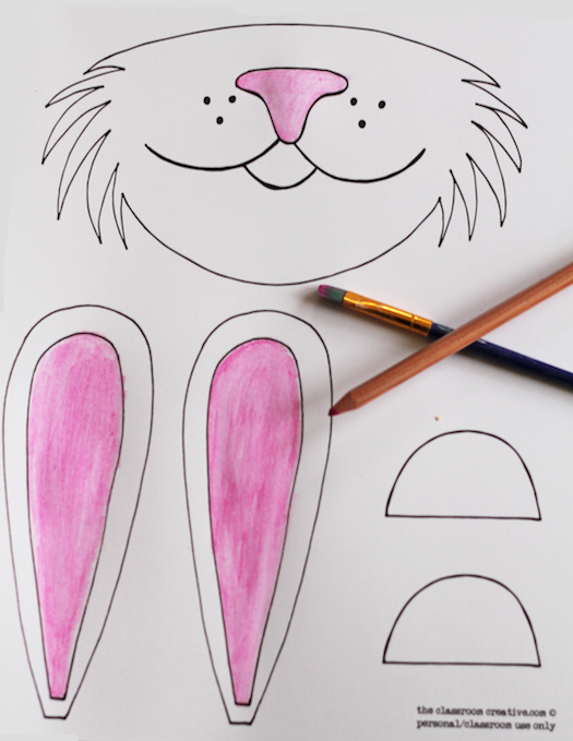 Color the bunny mask ...  sc 1 st  The Classroom Creative & Free Printable Bunny Mask u0026 Paper Plate Craft