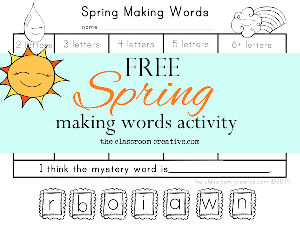 spring making words free printable activity from theclassroomcreative.com