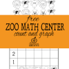 free kindergarten math center-zoo animal count and graph copy