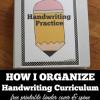 classroom and homeschool organizing idea-organizing a handwriting center with free printable teacher binder and spine covers
