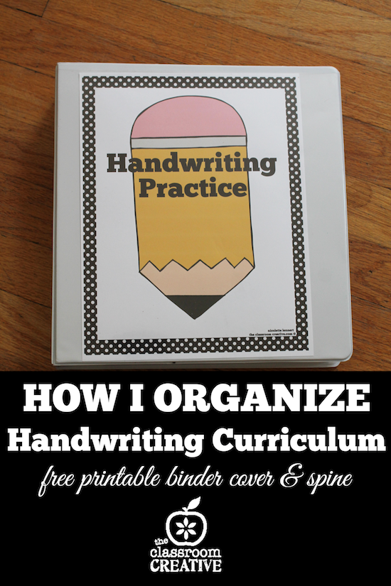Free Teacher Binder Printables: Organizing a Handwriting Curriculum