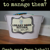 library bin idea with free printable library sign