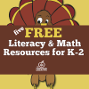 free Thanksgiving math and literacy centers for kindergarten, first, and second grade