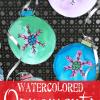 crayon resistant watercolor Christmas ornaments
