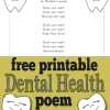free printable dental health month poem for preschool, kindergarten, and first grade