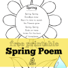 Free Printable Spring Poem for Preschool, Kindergarten, and First Grade