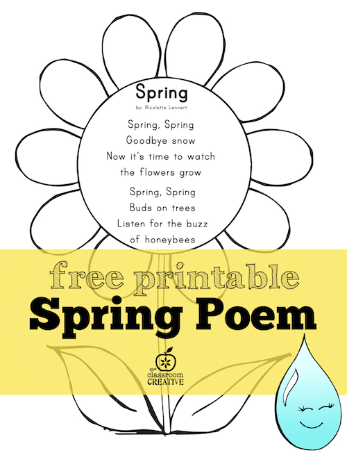Free printable spring poem for preschool kindergarten and first grade download mightylinksfo
