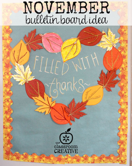Gratitude Craft, Gratitude Writing Activity, and November Bulletin Board