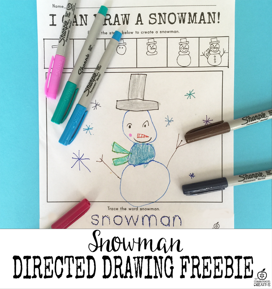 Snowman Directed Drawing Activity