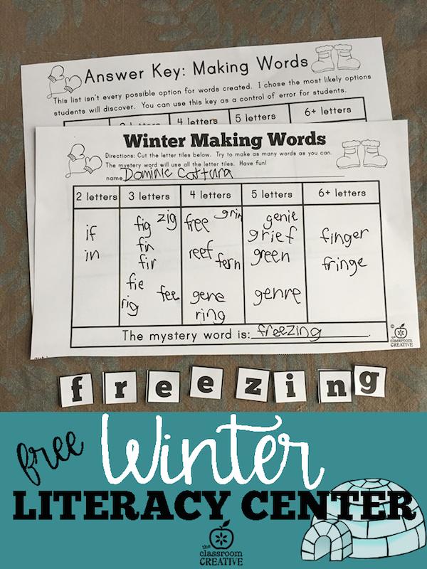 Free Winter Literacy Center: Winter Making Words