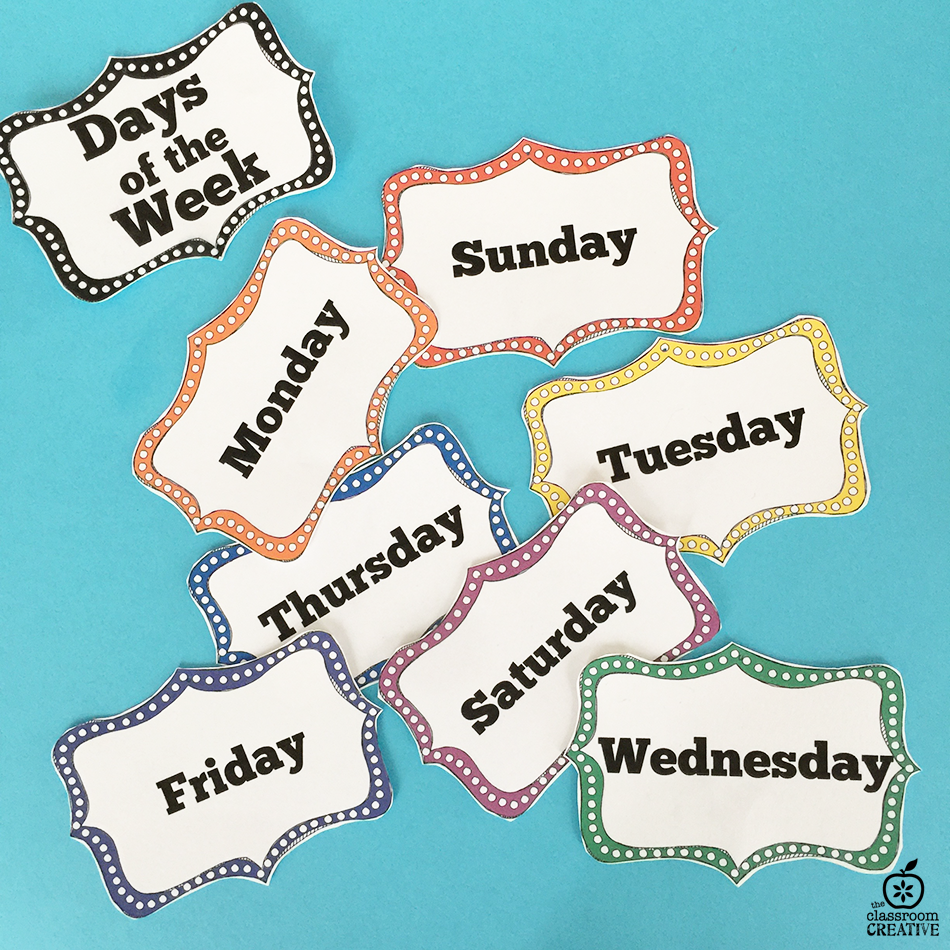 Classroom Organization Ideas: Days of the Week Labels
