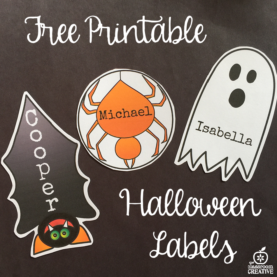 free printable bat, ghost, spider halloween labels