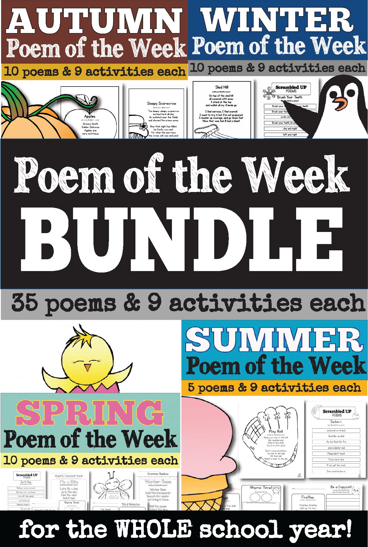 Poem of the Week for the Whole School Year for Kindergarten, First Grade, and Second Grade
