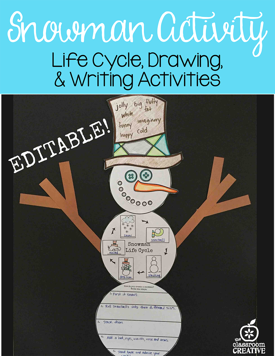 Snowman Activity for First Grade and Second Grade