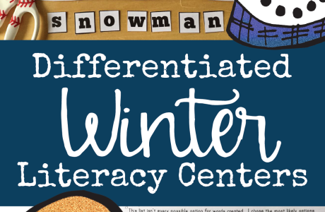 Differentiated Winter Literacy Centers for Kindergarten, First Grade, and Second Grade