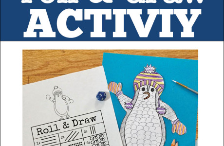 Free Penguin Art Activity: Roll and Draw