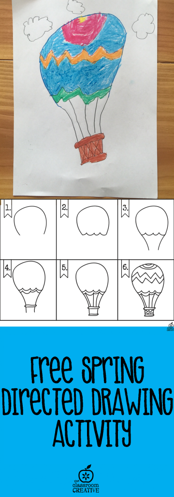 spring hot air balloon directed drawing for kids
