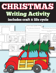 Christmas Tree Life Cycle writing step by step, drawing, and craftivity