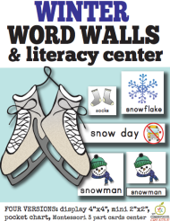 winter word wall Montessori, pocket chart cards, large 4 by 4, small 2 by 2