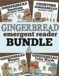 Gingerbread Emergent Reader bundle counting, emotion, colors, shapes