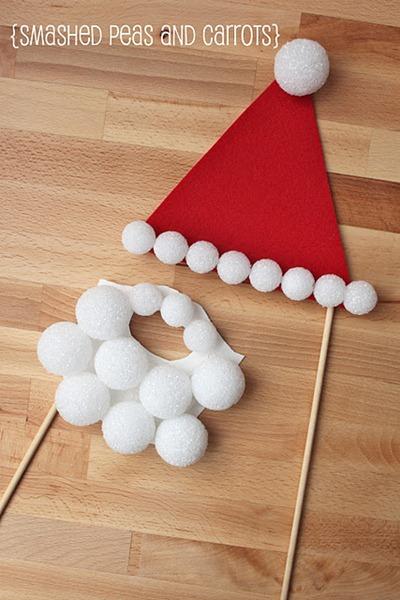 Santa Clause hat and beard made from styrofoam balls and felt