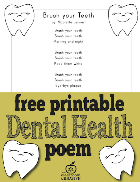 Number Names Worksheets dental health printables : Free Printable Dental Health Month Activity for Kids